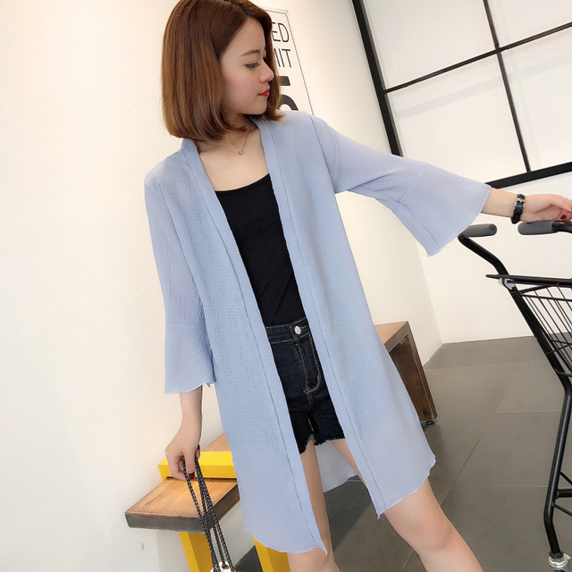 5153af53efc59 US $5.7 |New Flare Sleeve Chiffon Cover Up Blouse 2018 Summer Cardigan  Women Loose Long Open Stitch Shirt Beach Shirts Sunscreen Blusas-in Blouses  & ...