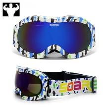Childrens colored snow ski glasses boys and girls anti-fog anti-UV double lens winter children goggles