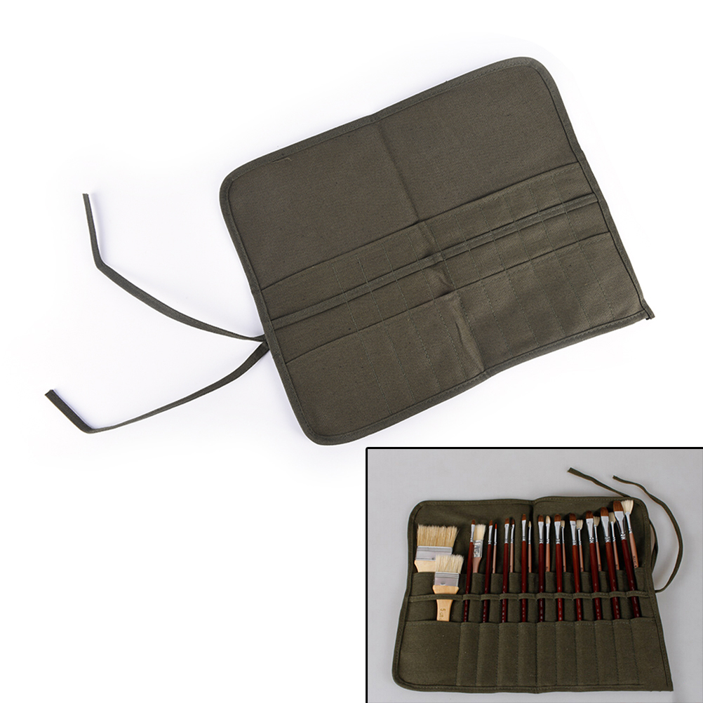 Artist Paint Brushes Holder Roll Up Pen Holder Protection Canvas Portable Long Handle Brush Pouch Bag 20 Slots