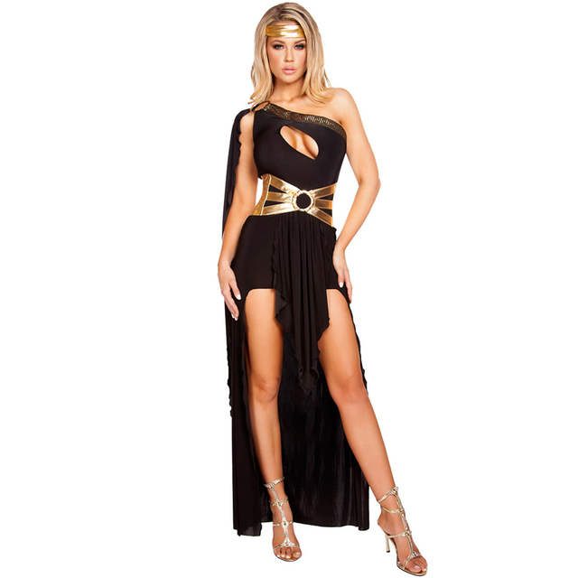 Disfraces Attack On Titan Black White Sexy Egyptian For Cleopatra Costume  Women Halloween Costumes For Adults Long Dress cd123f47d244