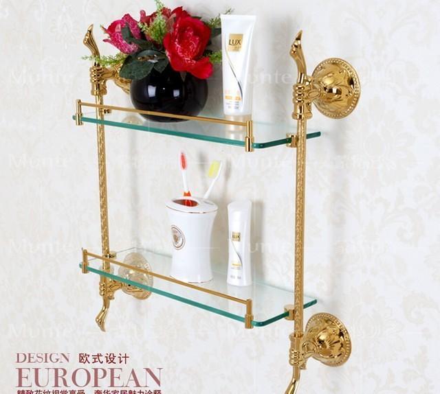 Free shipping European style luxury copper golden 2-tier glass carved bathroom shelf cosmetics holder bathroom decoration