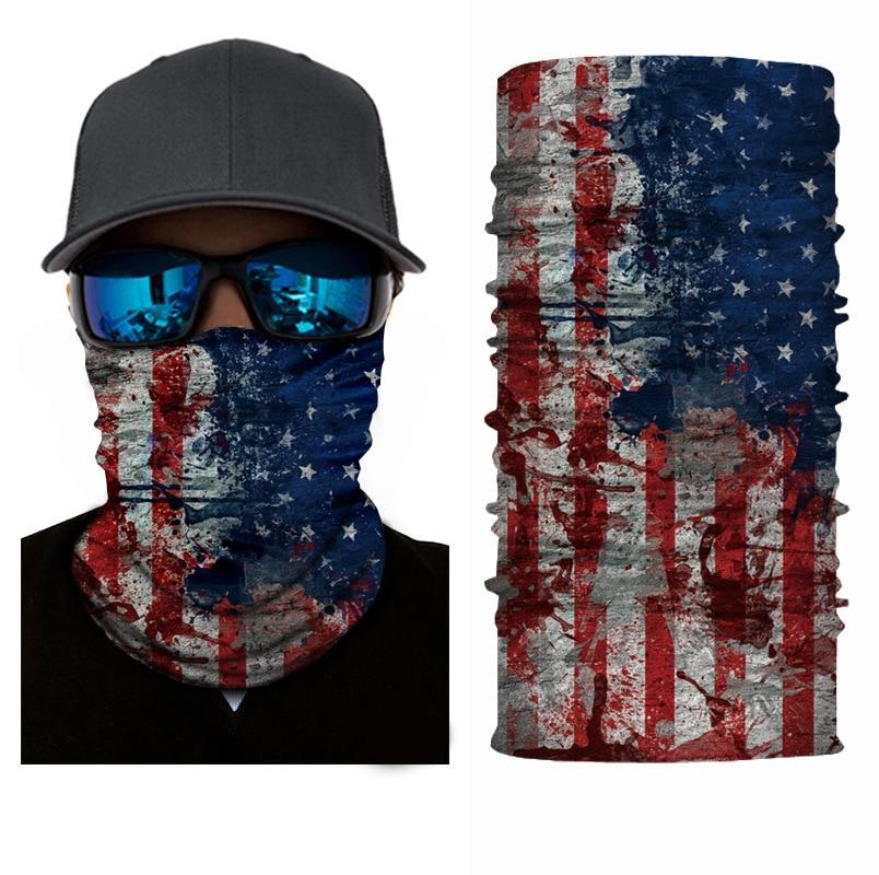 USA Flag Cycling Face Masks Balaclava Skull Wicking Headgear Sports Bike Bicycle Riding Hat Head Scarf Cycling Full Face Mask