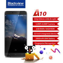 NEW Blackview A10 Smartphone Fingerprint 2GB+16GB MTK6580A Quad core Android7.0  5.0inch HD 3G Mobile phone 5MP+8MP 2800mAh GPS
