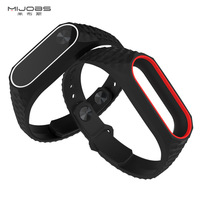 Mijobs Xiaomi Mi Band 2 Wrist Strap For xiomi mi band 2 band2 Smart Band Bracelet Silicone Miband Replacement Smart Accessories