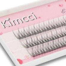 Kimcci 120 매듭/케이스 자연 개인 dovetail 속눈썹 확장 3d 밍크 클러스터 속눈썹 전문 플레어 속눈썹 메이크업