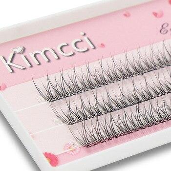 Kimcci 120knots/Case Natural Individual Dovetail Eyelash Extension 3D Mink Cluster Eyelashes Professional Flared Lashes Makeup