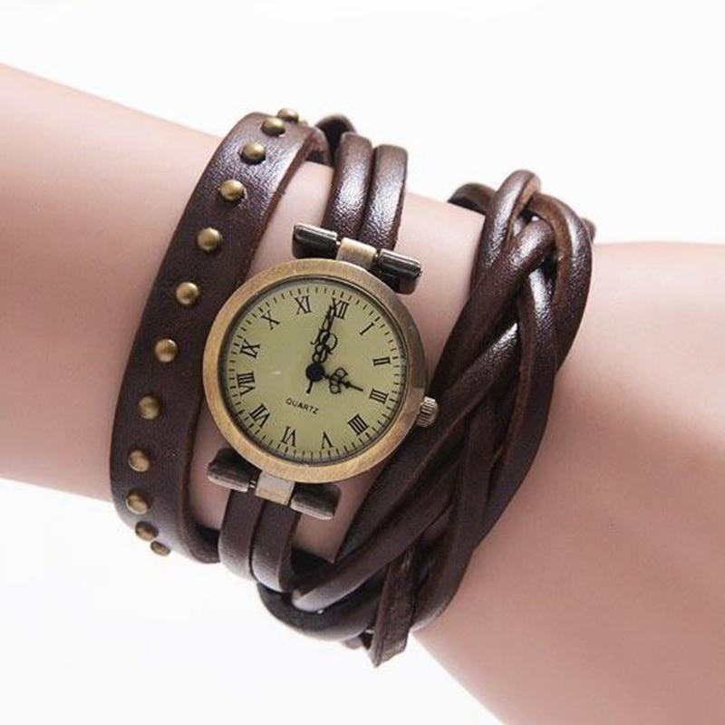 Fashion Vintage Style Rivet Braided Leather Casual Quartz ...