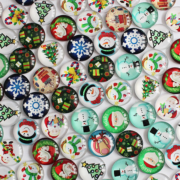 12mm Mixed Style Christmas Round Glass Cabochon Dome Jewelry Finding Cameo Pendant Settings 50pcs/lot K04056