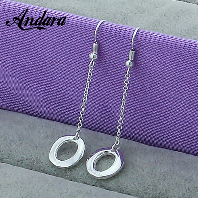 Brand Simple Design Long Earrigs 925 Silver Jewelry Ladies Women Circle O Earrings Fine Jewelry L110