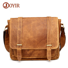 Joyir new 2017 crazy horse men's messenger bags genuine leather bags for men shoulder bag vintage men's crossbody bags B351