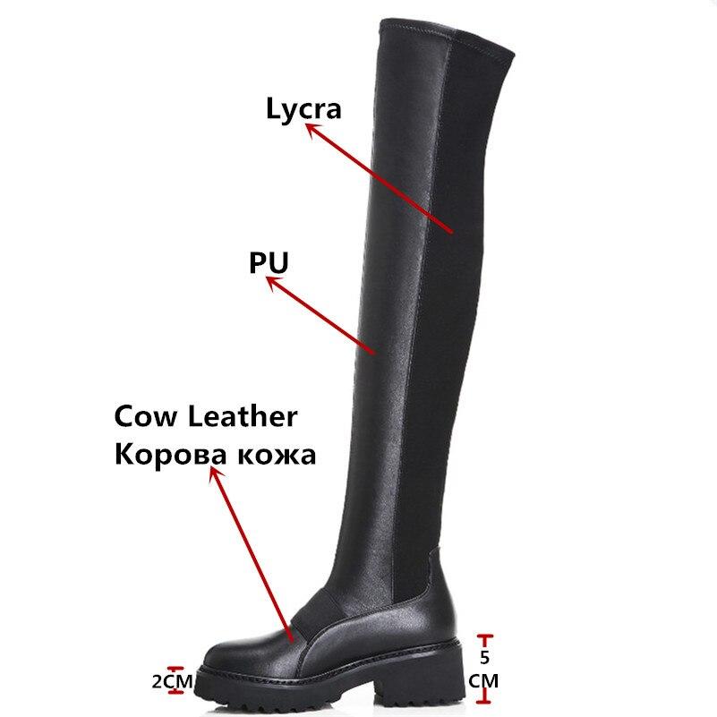 FEDONAS 黒人女性ニーハイブーツハイヒールロング暖かい冬の靴の女性タイトな高ダンスブーツ  グループ上の 靴 からの 膝上 ブーツ の中 3
