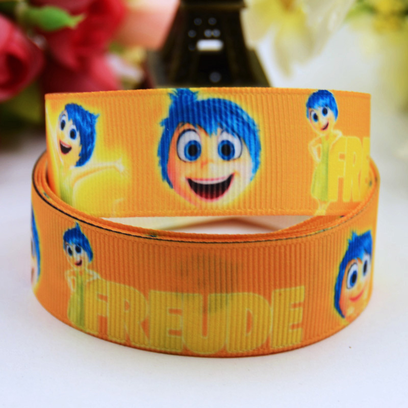 Ribbons Fast Deliver 7/8 22mm Inside Out Anger Fear Disgust Sadness Joy Cartoon Printed Grosgrain Ribbon Party Decoration Oem 10y X-00449