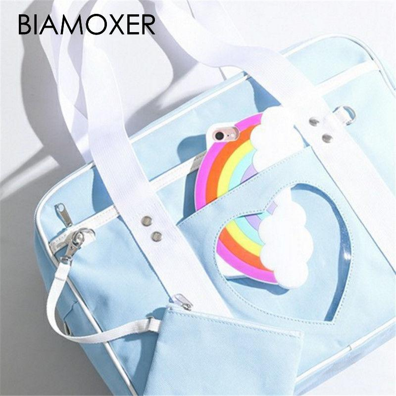 Biamoxer Women Preppy Style Itabag Uniform Bag Lolita Cute Casual Pink Blue Purple Handbag Shoulder Bag
