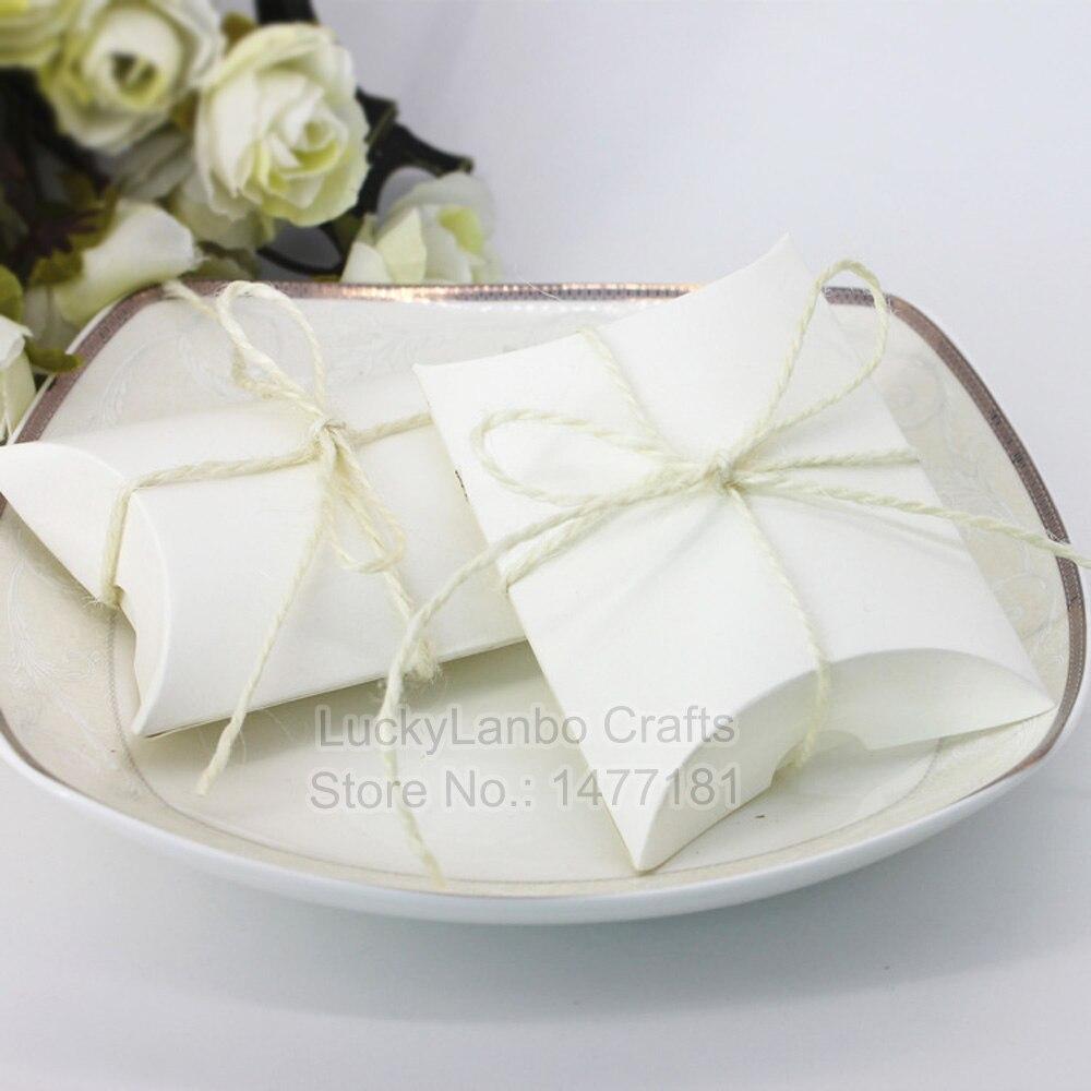 50pcs Brown White Kraft Wedding Favour Paper Vintage Boxes Shabby ...