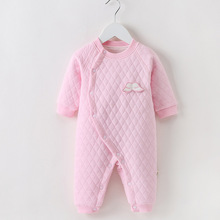 Baby clothes String Closure Coveralls O-Neck Long-Sleeves Soft Cute Full-Sleeves Jumpsuits  0-9 Months