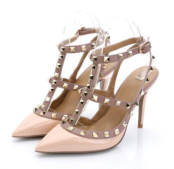 Nude matte Sexy Rivet Wedding Pumps Fashion Women High Heels Hollow Sandals Buckle Studded Stiletto Sandals Shoes 34 43 with box