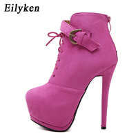 Eilyken Designers 2018 New Spring Autumn Women Shoes Black High Heels Boots Lacing Platform Ankle Boots Chunky Size 35 39