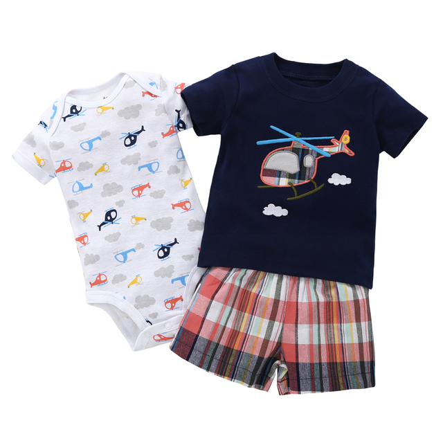 summer boy clothes newborn baby set letter T-shirt tops+bodysuit+shorts costume infant clothing new born outfit babies suit 2019 2