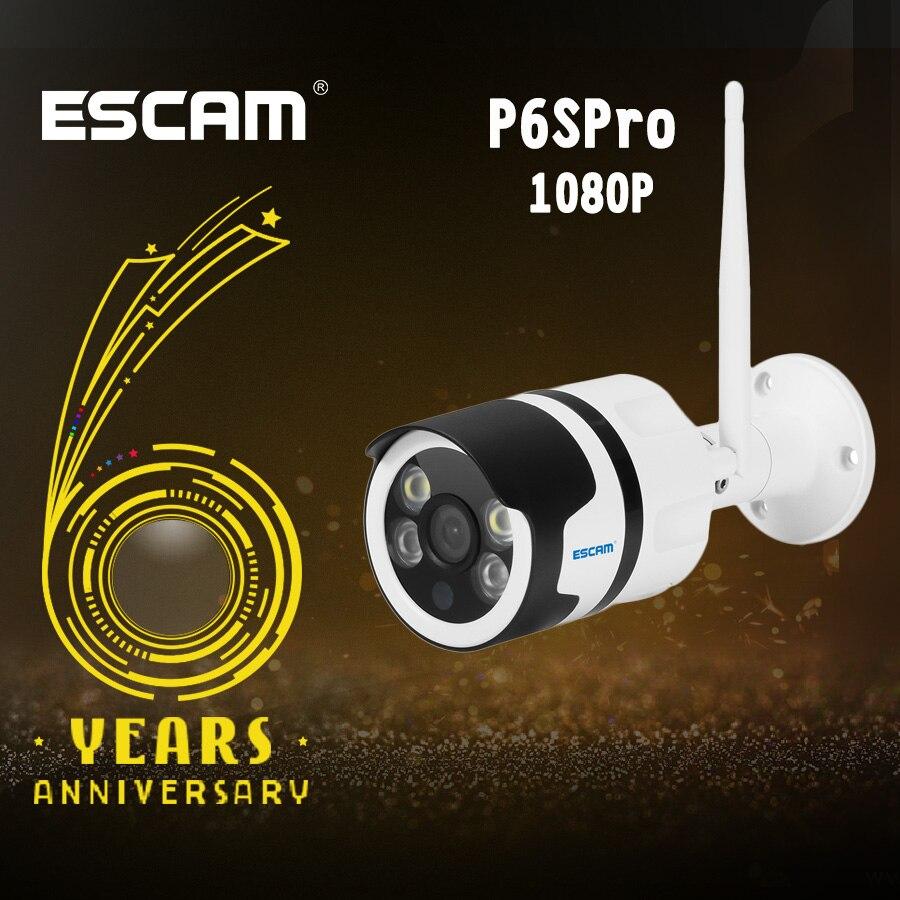 ESCAM QF508 cámara IP HD 1080 P 2MP impermeable al aire libre de color completa de visión nocturna cámara de seguridad de infrarrojos Bulllet Cámara P6SPro