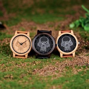 Image 2 - ボボ鳥 WP24 シンプルな竹メンズ · レディースクールなスカルデザインメガネクォーツ腕時計