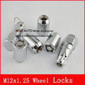 4nut+2key M12x1.25 Wheel Lock Nuts Anti theft Security Key Nut, Wholesale Enhanced Groove Style Car Alloy Nuts Silver