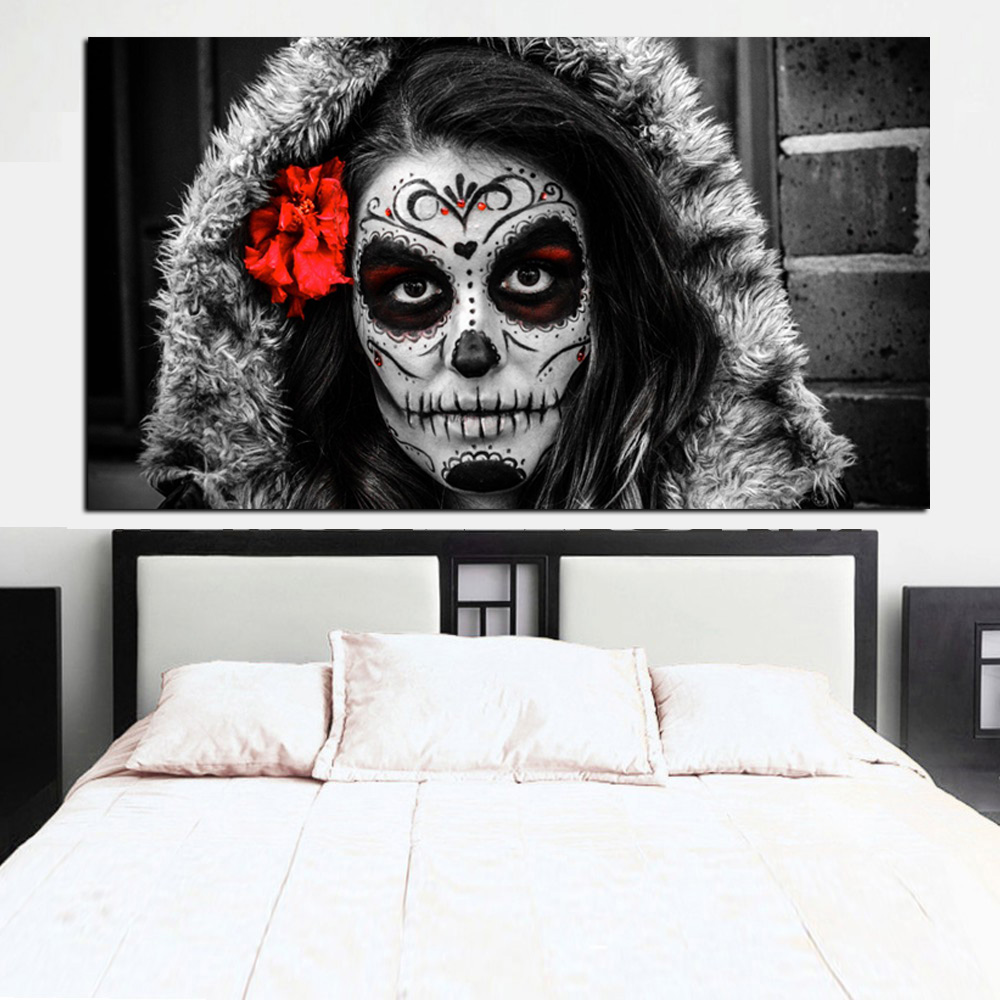Canvas painting sugar skull girl day of the dead canvas - Leave you dead in the living room ...