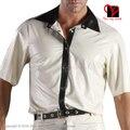 Сексуальная Белый черный Латекс рубашка Резиновые пальто куртка Gummi блузка платье комбинезон С Длинным рукавом Равномерное кнопку Ти XXL плюс размер