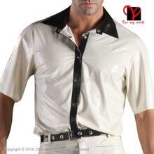 Sexy White black Latex shirt Rubber coat jacket Gummi blouse catsuit Long sleeve Top Uniform button
