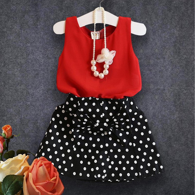 JENYA 2017 summer new fashion girls clothes red sleeveless vest+black skirt 100%cotton hot sale issue kids clothing