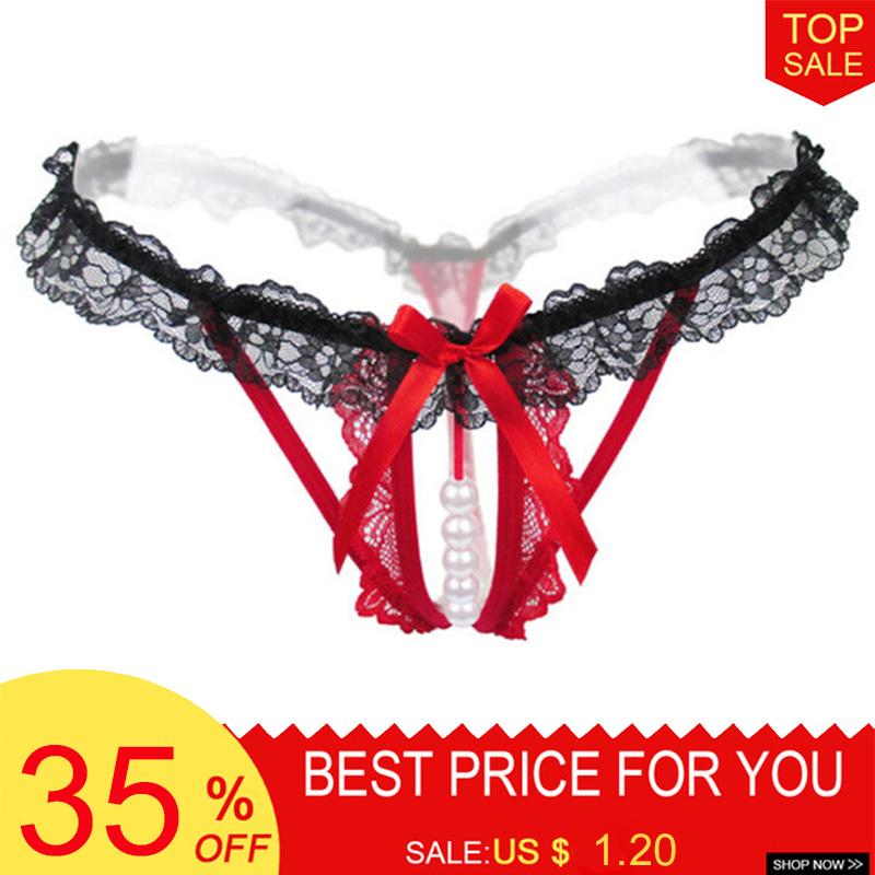 luckymily Sexy Crotchless Faux Pearl Lace Bowknot Women's G-String Thongs Briefs   Panties   Hot Erotic Women Lingerie String Tanga