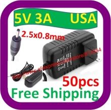 50 pcs Free Shipping 5V 3A USA Pulg DC 2.5mm x 0.8mm Charger for Hero II Spark V99 V10 A11 F9X F10X Sanei N10(China)