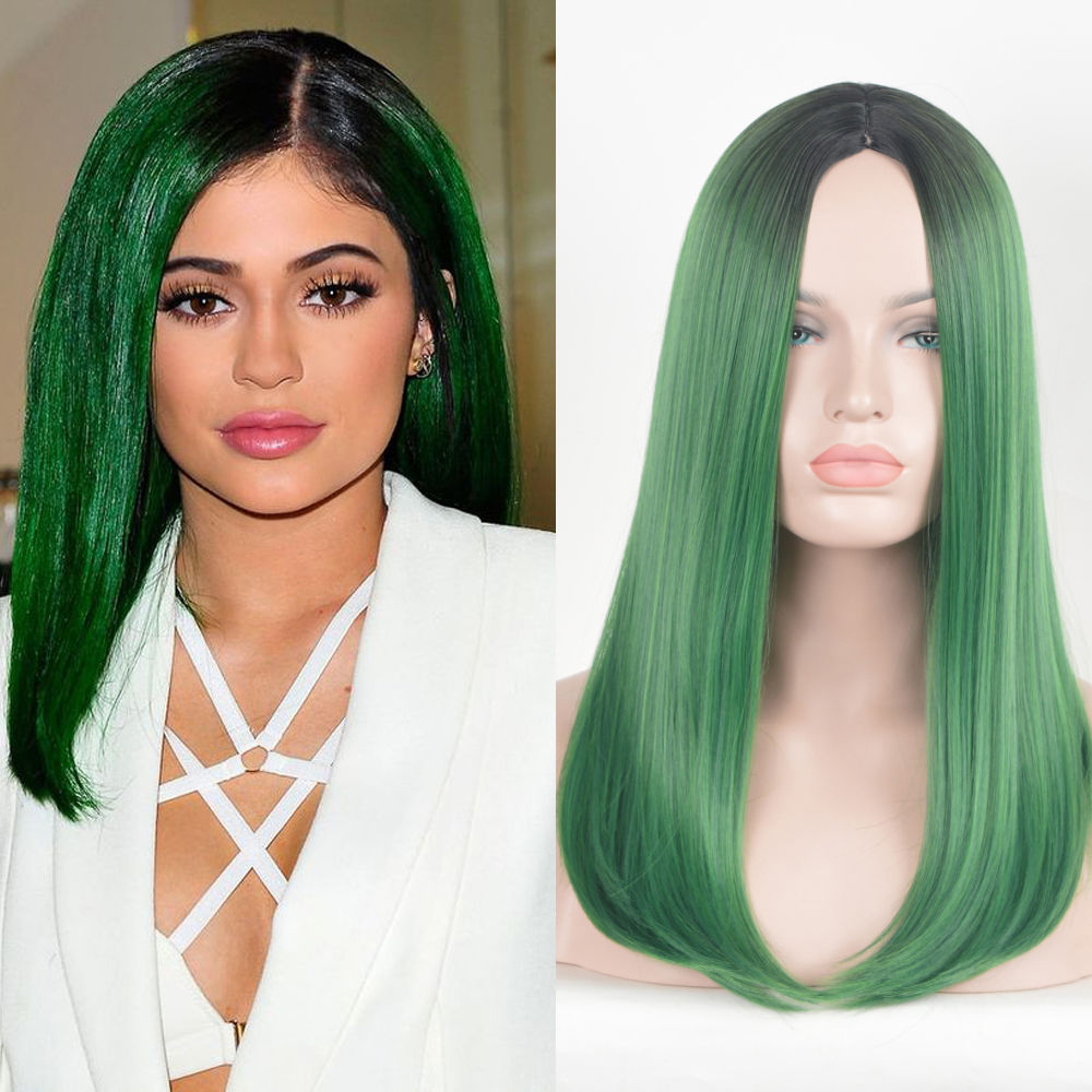 dark green black root middle parting halloween wig long bob style