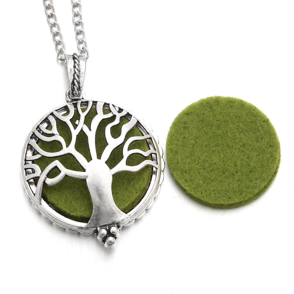 1Pcs Aromatherapy Necklace Silver Color with Tree of Life Essential ...