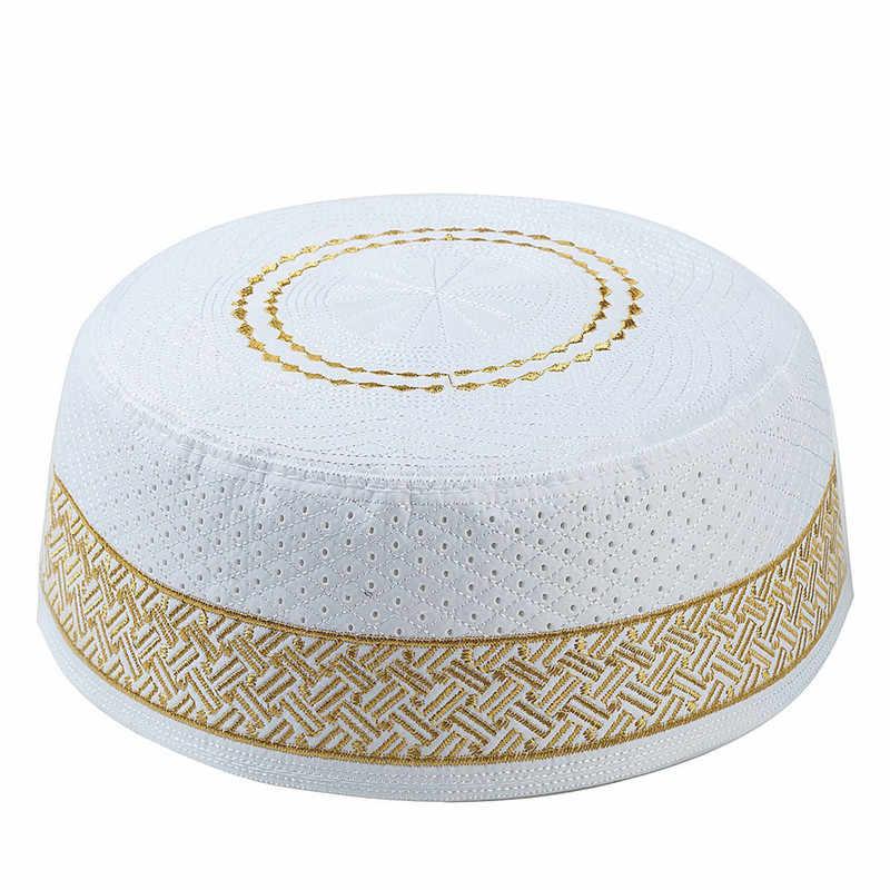 2019 Muslim Hat Katun Bordir Arab Pria Doa Topi Musliman Sorban Pria Hijab Bonnet Arab Saudi Yahudi India Topi
