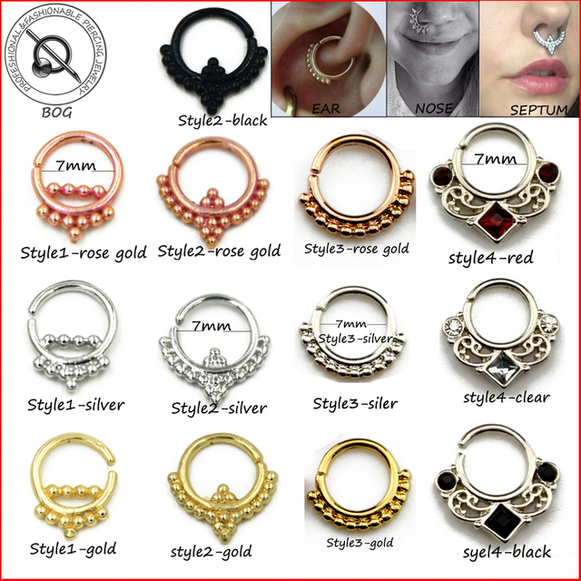 Small size 1 piece real septum ring pierced piercing septo for Types of body jewelry rings