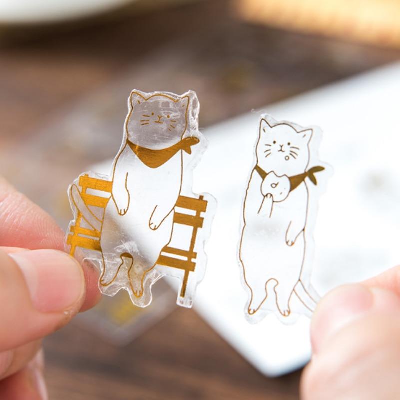 Купить с кэшбэком 6pcs/lot Funny cat hot stamping sticker Cartoon child diy toy Album Deco sticker scrapbooking seal sticker kawaii stationery