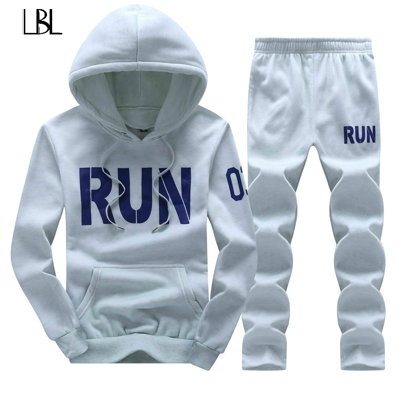 Tracksuit Men Set Hoodies Mens Autumn Winter Fleece Tracksuits Print Sportswear Casual Jackets + Pants Mens Clothing Sets 2018