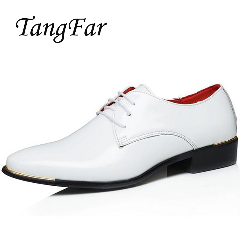 Mens Formal Shoes Big Size 48 47 46 45 Patent Leather White Wedding Shoes Male Lace-Up Derby Flats Mens Business Shoes