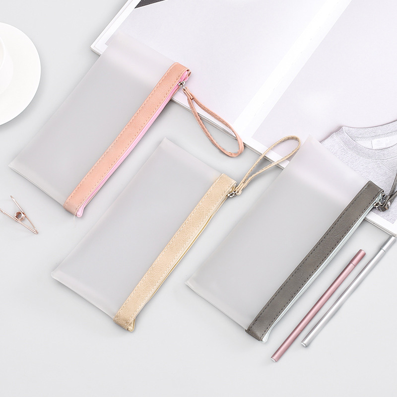 1Pc New Stationery Creative Transparent Scrub Pencil Bag Korean Student Pencil Case Office School Supplies in Pencil Bags from Office School Supplies