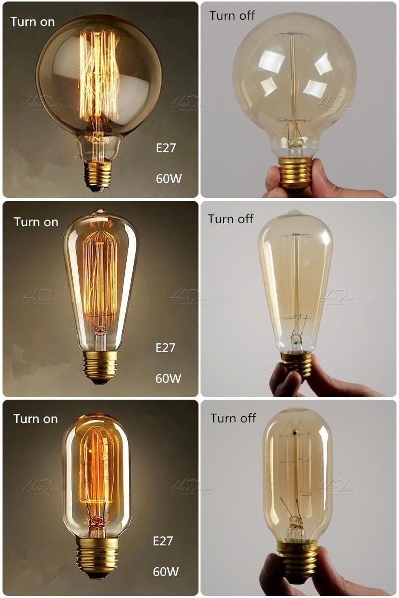 Антикварные Ретро винтажные лампочки Эдисона E27 светильник накаливания G125 белка-декоративная клетка лампа накаливания Эдисона Светильник