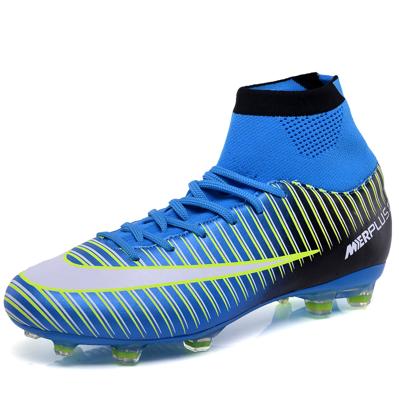 Mens Soccer Boots Long Spikes Football Boots Men Artificial Grass Teenager Scool Football Boots Green Blue Soccer Shoes Size 46
