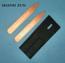 SHANH ZUN Personalized Customize Engraved Copper Metal Collar Stays Shirt Bone Stiffeners Inserts Gift For Business Man shanh zun personalized customize engraved stainless steel metal collar bones shirt tabs stiffeners inserts golden gift for men