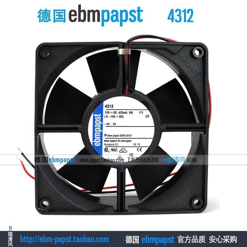 New original ebmpapst 4312 DC 12V 0.42A 5W 120x120x32mm Server Square fan free shipping new original ebmpapst blowers 4412n 1238 12v 5 3w wind capacity
