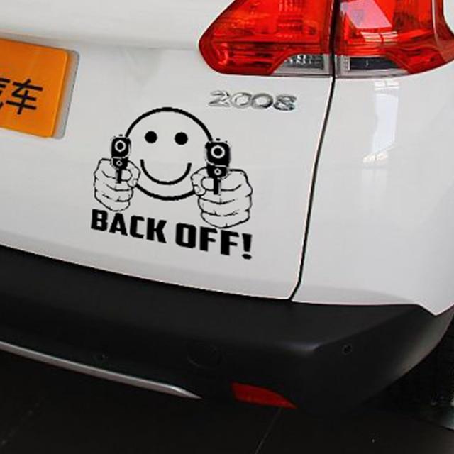 Wholesale Pcslot Cm X Cm Smiley Face Guns Back Off - Vinyl decals for cars wholesale