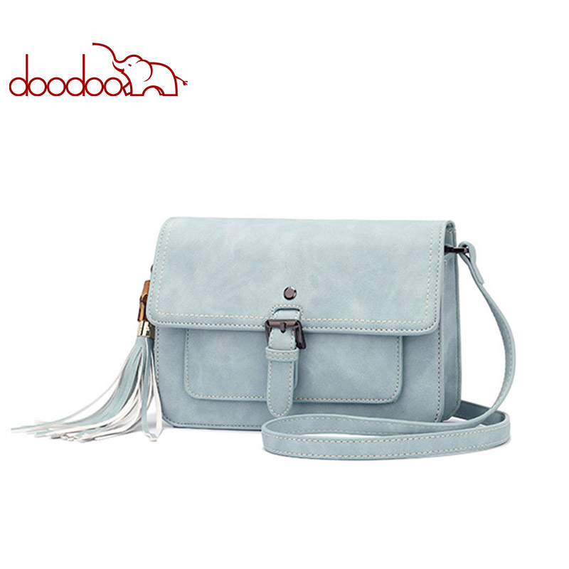 DOODOO Brand Fashion Women Bag Female Shoulder Crossbody Bags Ladies Artificial Leather Tassel New Small 5 Colors Messenger Bags just star women s leather messenger bags ladies fashion shell tassel shoulder purse female bee summer crossbody bags