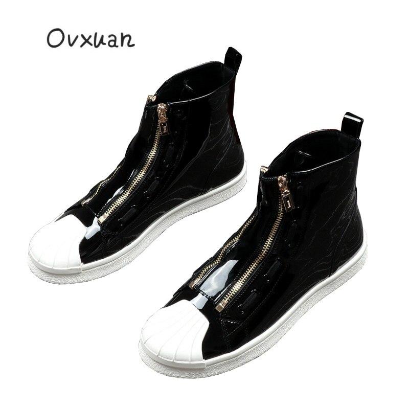 bleu Zip Robe Mode En High Mocassins Métal Cheville Ovxuan argent Appartements Shell Cuir Top De Chaussures Noir Hommes Partie Brevet Bout wHpTz