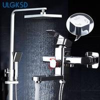 ULGKSD Chrome Brass Shower Faucet Wall Mount 360 Swivel W/ Hand Sprayer Bathroom Shower Set Tub Faucet Mixer Tap