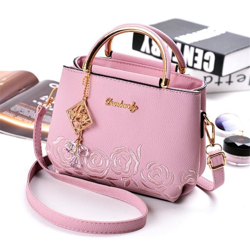 2019 new embroidered handbag handbag lady flower black small fashion wallet ladies party Messenger bag handbag in Top Handle Bags from Luggage Bags