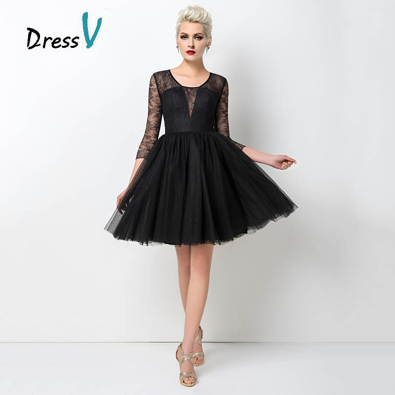 Dressv Sexy Short Black Cocktail Dresses 2017 Tulle A Line Sheer