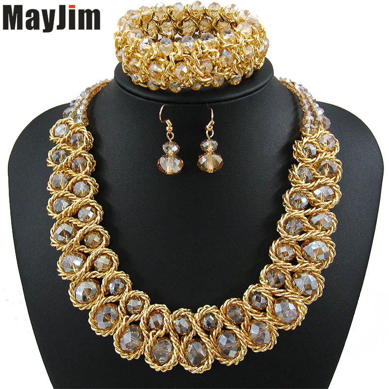 Statement necklace 2018 fashion jewelry sets Handmade beads chain crystal dubai jewelry sets Vintage beads Bijoux Accessories